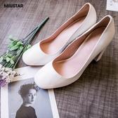 現貨-MIUSTAR 知性氣質素面圓頭穩健粗跟高跟鞋(共1色,36-39)【NE4256T1】