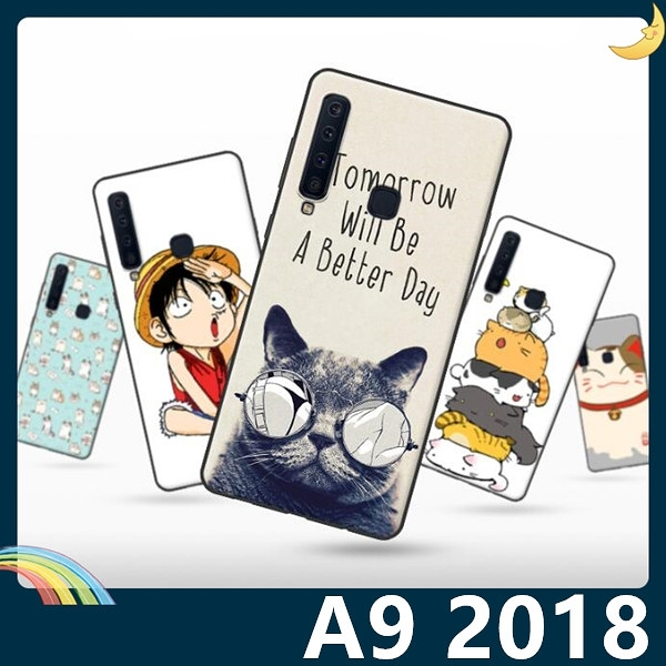 三星 Galaxy A9 2018版 彩繪Q萌保護套 軟殼 卡通塗鴉 超薄防指紋 全包款 矽膠套 手機套 手機殼