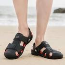 海灘鞋 軟底包頭洞洞鞋男士休閒青年涼拖新款戶外游玩厚底沙灘鞋防滑涼鞋