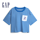 Gap女裝Gap x Disney 迪士尼系列冰雪奇緣棉質寬鬆圓領短袖T恤567669-藍白相間條紋