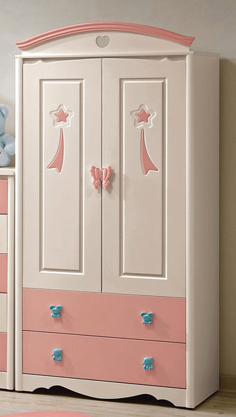 【森可家居】 貝妮斯3尺衣櫥 7CM130-1 粉紅 兒童 衣櫃 童話城堡風