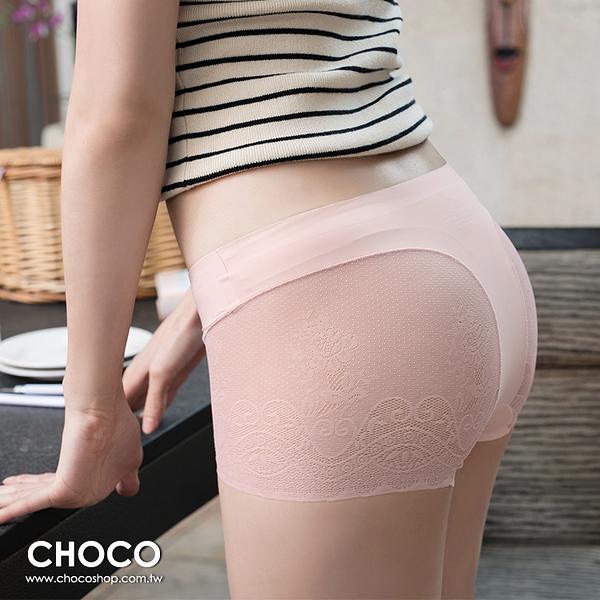 Choco Shop-蘿蔓莎‧萊卡無痕蕾絲剪裁內褲(粉色) M~XL