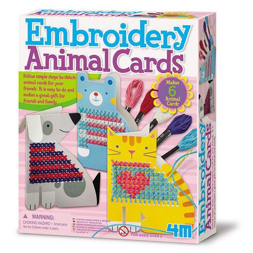 《4M美勞創作》刺繡動物卡片 Embroidery Animal Cards ╭★ JOYBUS玩具百貨