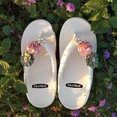 SUNNY COLOR人字拖女夏外穿ins網紅花朵沙灘可濕水舒適防滑涼拖鞋『潮流世家』