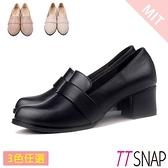 紳士鞋-TTSNAP 雙層飾帶微尖頭中跟鞋 黑/粉/杏