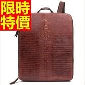 後背包-真皮明星同款大容量優質精美鱷魚紋英倫風男女-雙肩包包-2色61s8[巴黎精品]