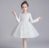 兒童禮服 春裝兒童演出服主持人禮服公主裙女童蓬蓬連衣裙白色紗裙TW【快速出貨八折搶購】