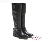 effie 城市漫遊 經典質感真皮雙釦飾長靴 黑