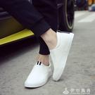 小白鞋一腳蹬皮鞋英倫潮流白色男士休閒鞋豆豆鞋樂福鞋懶人社會鞋   伊衫風尚