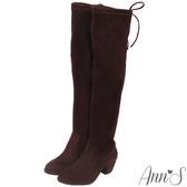 Ann'S正常版-名模後蝴蝶結側拉鍊貼腿過膝靴-細絨咖