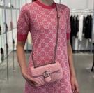 ▶2021 春夏新品■專櫃88折■ Gucci 全新真品 GG Marmont Mini 446744 22CM 衍縫兩用包 野玫瑰粉色