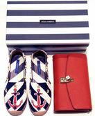 ★專櫃32折! Dolce&Gabbana 棉質小牛皮和皮革船錨圖騰平底休閒鞋 IT 35/36/36.5