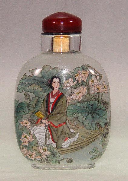 居家開運典藏水晶內畫-鼻煙壺【仕女圖】( 精工內畫、薄胎、瑪瑙蓋)