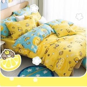 【BREAD TREE麵包樹】精梳棉雙人四件式兩用被床包組(檸檬派對)檸檬派對(黃)