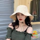 素色遮陽帽女漁夫帽 防曬紫外線大沿潮百搭日系 ~樂淘淘~