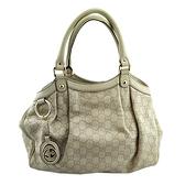 【奢華時尚】GUCCI 象牙白色雙G壓紋牛皮手提Sukey包(八八成新)#25060
