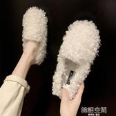 網紅同款豆豆鞋女韓版加絨棉瓢鞋女鞋2019秋冬季外穿一腳蹬毛毛鞋 韓語空間