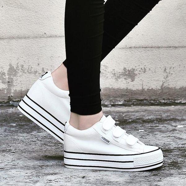 小白鞋帆布鞋女魔術貼鬆糕鞋學生厚底內增高女鞋潮休閒鞋 『CR水晶鞋坊』