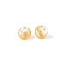 耳環 輕巧 金屬感 纏繞 花朵 珍珠 圓形 甜美 氣質 耳釘 耳環【DD1909039】 BOBI  12/19