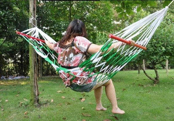 戶外吊床網狀帶木棍吊床