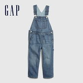 Gap男幼童 時尚水洗直筒型牛仔吊帶褲 623001-水洗藍