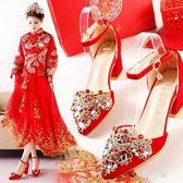 紅色婚鞋女結婚鞋子新娘鞋粗跟孕婦鞋秀禾鞋中跟婚鞋夏季 nm3669 【野之旅】