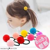 韓版女童糖果色系毛球髮圈 髮飾 5入/組