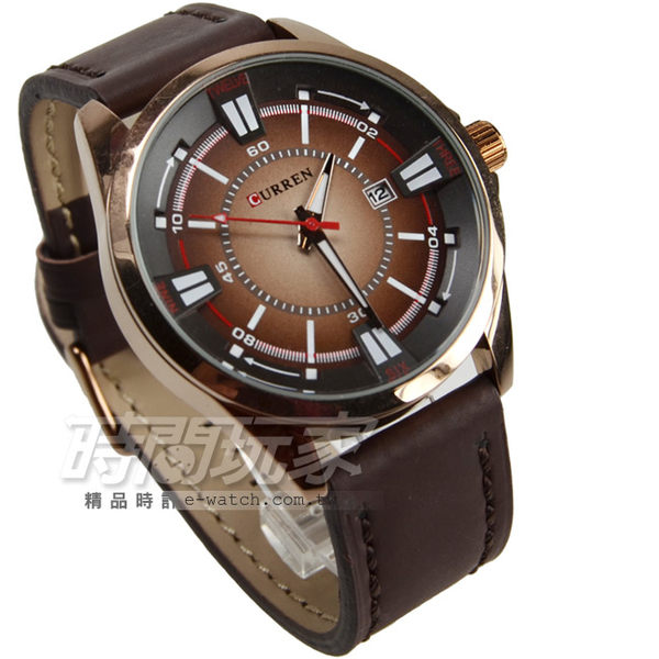 CURREN 運動休閒時刻 日期顯示 咖啡色 防水手錶 大錶面 中性錶/女錶/男錶 漸層 CU8155玫咖
