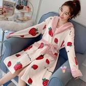 浴袍 珊瑚絨睡衣睡袍女秋冬季長款加厚法蘭絨浴袍可外穿睡裙網紅款可愛M-XL碼 多款