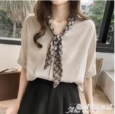 雪紡短袖 2020夏季女裝韓版拼接領巾雪紡衫女短袖氣質上衣寬鬆打底衫 愛麗絲