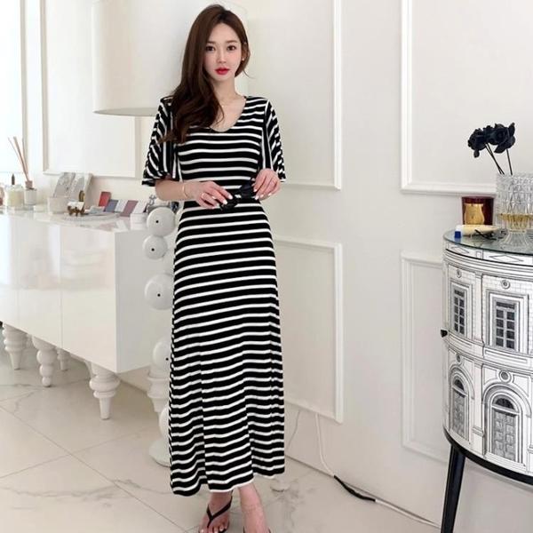 依米迦 洋裝 夏裝新款韓版氣質修身長裙休閒針織條紋大擺裙連身裙