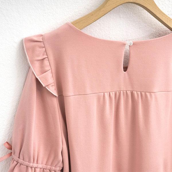 單一優惠價[H2O]領縫珠袖子剪接點點網紗泡泡袖針織上衣 - 白/粉/淺藍色 #9671009