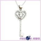 流行飾品 歐美流行款式 愛心鑰匙造型 鋯石 項鏈【Fulgor Jewel】