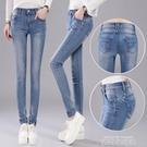 2020新款夏裝女裝女士牛仔褲女中腰小腳褲鉛筆褲修身顯瘦淺色女褲 依凡卡時尚