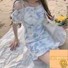 夏季顯瘦碎花連衣裙短款裙子吊帶連身裙女扎染風【小狮子】