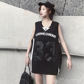 原宿風無袖t恤女籃球服夏字母印花背心上衣中長款寬鬆bf運動體恤