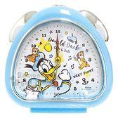 〔小禮堂〕迪士尼 唐老鴨 奇奇蒂蒂 三角形鬧鐘《藍白.音符》桌鐘.時鐘 4548626-09077