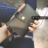 韓版時尚復古層短款小錢包百搭簡約休閒卡包女包