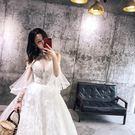 婚紗 深V領蕾絲刺繡純手工釘鑽掛脖新娘婚紗禮服2019新款顯瘦 曼慕衣櫃