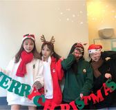 (交換禮物 聖誕)尾牙 可愛卡通聖誕新年麋鹿小刺繡冬季加絨保暖元氣連帽帽T四色