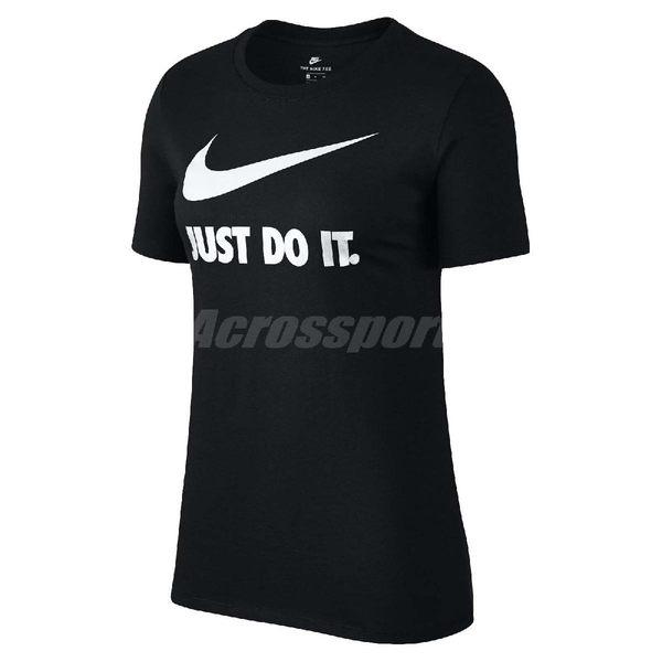 Nike T恤 Tee Crew Just Do It Swoosh 短袖 上衣 女款 基本款 黑 白 【PUMP306】 889404-010