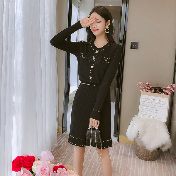 絕版出清 韓國風時尚針織線條套裝長袖裙裝