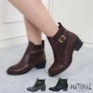 短靴 拼接側扣帶鬆緊短靴 MA女鞋 T7...