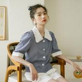 短袖上衣女設計感時尚洋氣氣質撞色花邊方領格子襯衣文藝復古小衫 居享優品