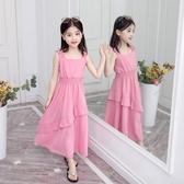 女童雪紡裙 女童洋裝夏裝2019新款13歲8韓版9洋氣中小兒童女孩公主裙子