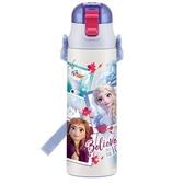 〔小禮堂〕迪士尼 冰雪奇緣 超輕量彈蓋不鏽鋼保溫瓶附背帶《藍白》580ml.水壺.水瓶 4973307-47696