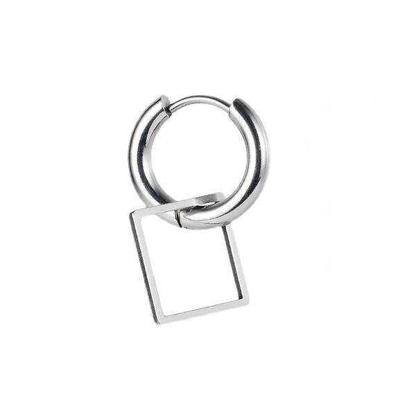 316L醫療鋼 幾何方形菱形 弧形素面 耳環耳圈扣-銀 防抗過敏 單支販售