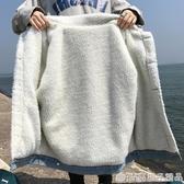2020新款牛仔外套女冬季韓版寬鬆原宿風BF學生羊羔毛加絨加厚棉衣   (橙子精品)