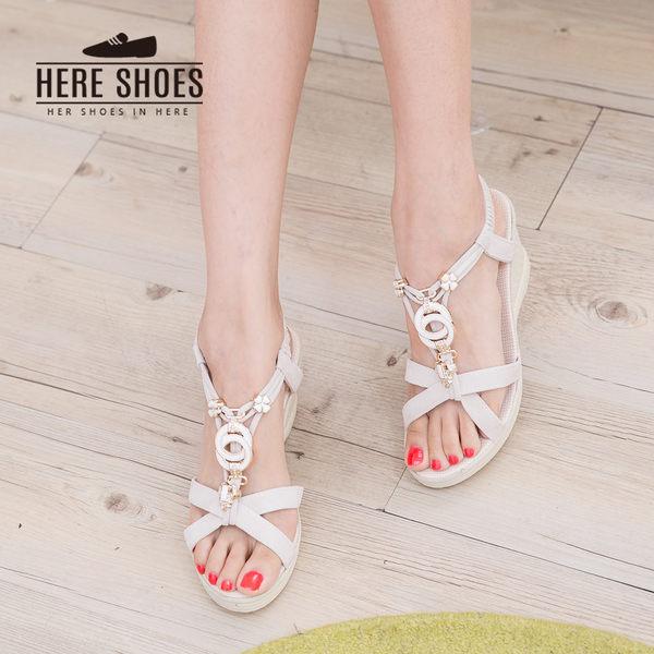 [Here Shoes] 時尚 金屬圓環造型  跟高6.5cm 伸縮帶涼鞋 2色─AWC02