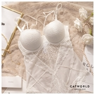 Catworld 女神降臨。硬鋼圈胸前V線條鏤空蕾絲連身內衣(白)【18807237】‧70B-85C